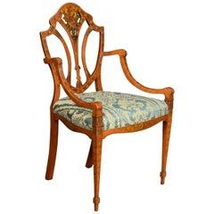 Late 19th Century Sheraton Revival Satinwood Armchair