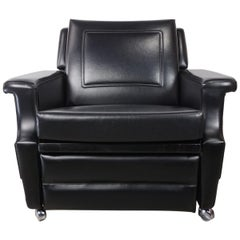 1950s French Design Recliner and Relax Black Faux Leather Armchair