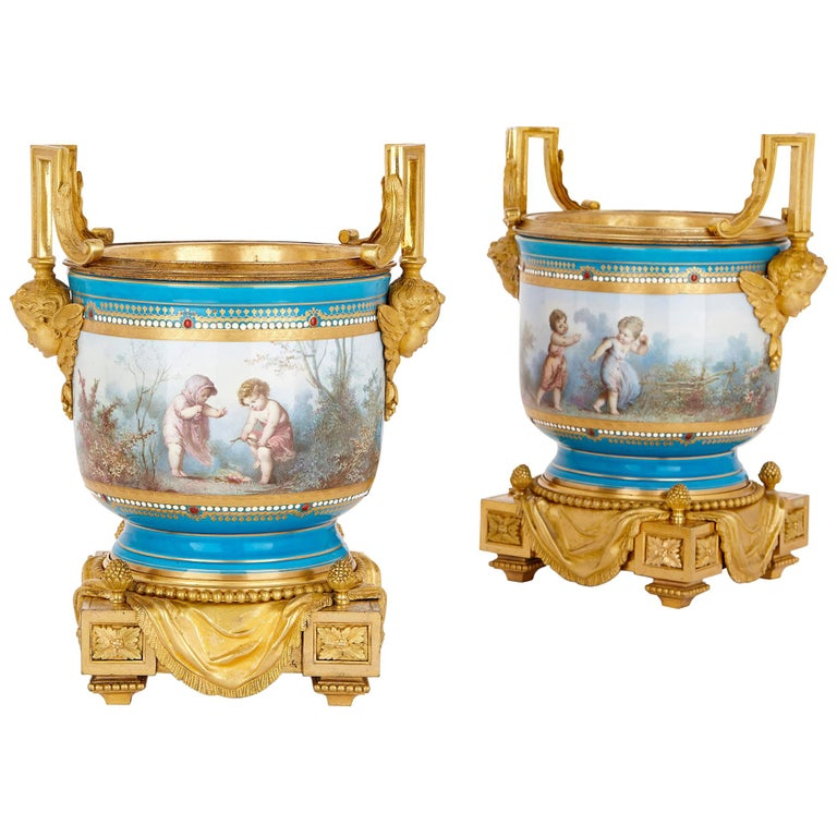 Pair of Sèvres Porcelain Vases with Gilt Bronze Mounts by Picard For Sale