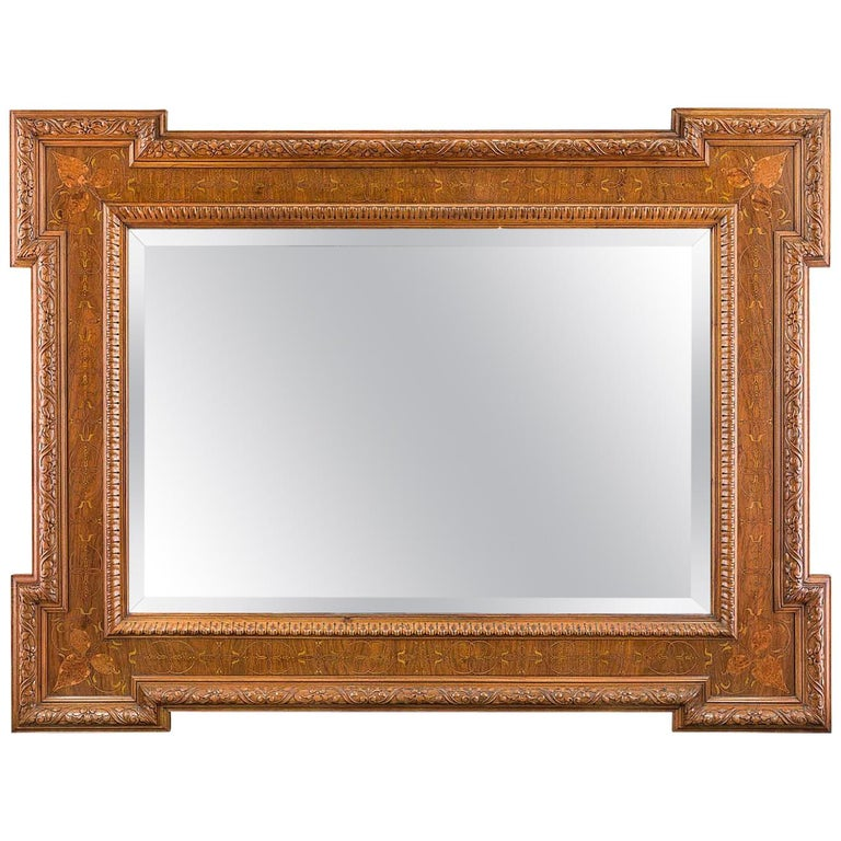 Victorian Art Nouveau Marquetry Wall Mirror