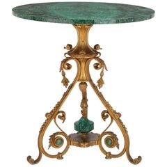 19tes Jahrhunderts russischer Malachit und vergoldete Bronze Gueridon