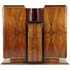 Art Deco Period Cupboard, Bar Cabinet, 1920-1930, France, Walnut Veneered