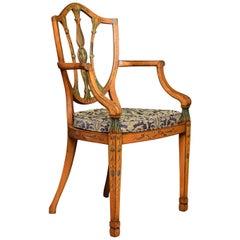 19th Century Sheraton Revival Satinwood Armchair