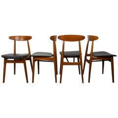 Danish 1960s Design Teak Wooden and Black Faux-Leather Set of 4 Chairs