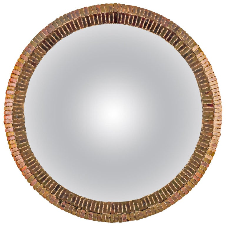 """Line Vautrin French Convex Mirror """"Couronne"""" Gold Bronze Incrusted Mirrors For Sale"""