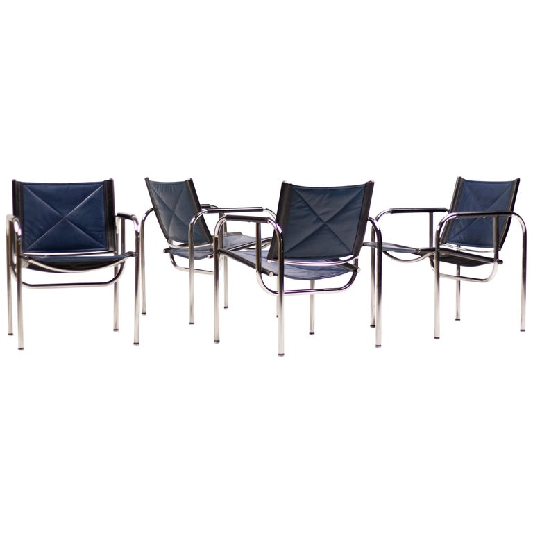 Hans Eichenberger Blue Leather Armchairs For Sale