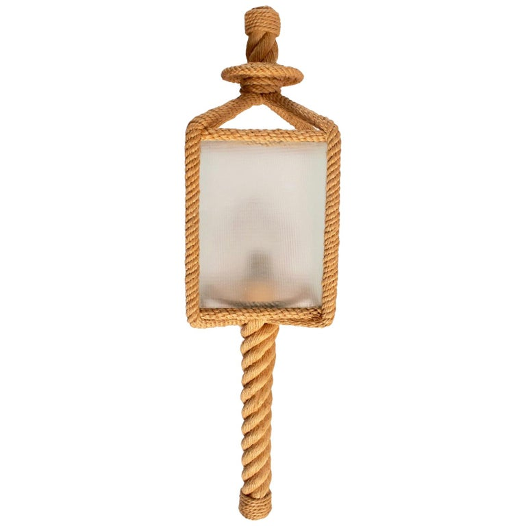 1950s Audoux & Minet Rope Wall Lantern For Sale