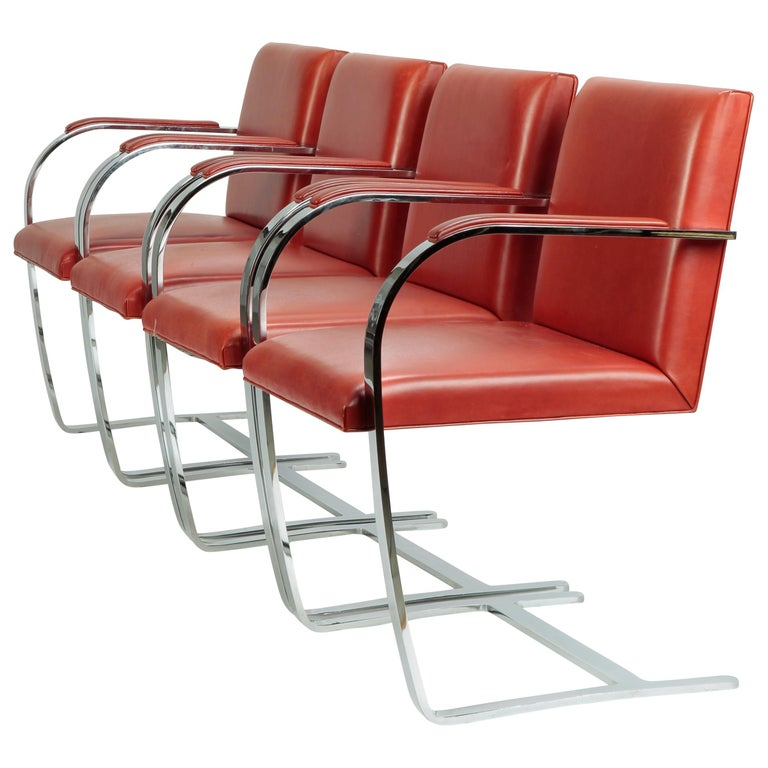 4 Mies Van der Rohe Brno Chairs Knoll Int, 1960s For Sale