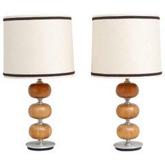 Pair of Mahogany 1970s Table Lamps by Henrik Blomqvist for Tranås Stilarmatur