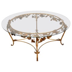 1950s Vintage French Gilt Metal Coffee Table