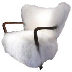 Viggo Boesen's Attributed Armchair in Curly Tibetan Lambskin, circa 1940