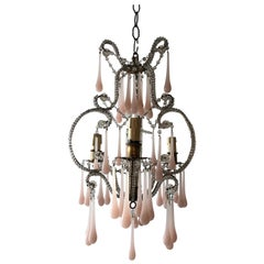 French Beaded Pink Opaline Murano Drops Chandelier, circa 1920