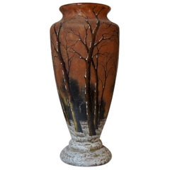 French Daum Nancy Enameled  Winter Landscape Glass Vase, circa 1900