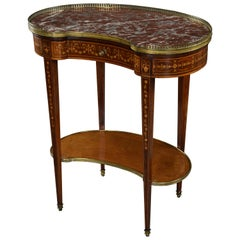 Fine Quality Two-Tier Kidney Shaped Mahogany and Satinwood Marble-Top Table