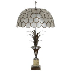 "Large Lamp ""Roseaux"" in Chromed Metal, Onyx and Mother of Pearl Shade"