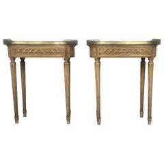 19th Century Bouillotte Louis XVI Style, Kidney Shaped Bronze & Pine Side Table