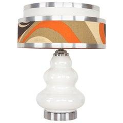 1970s Italian Design White Opaline Table Lamp