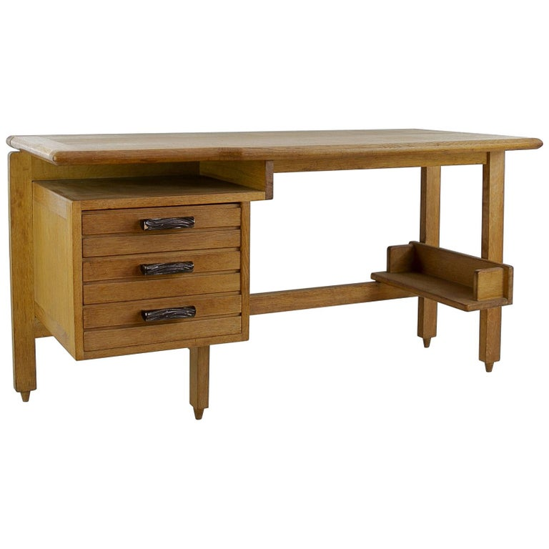 Guillerme And Chambron 3 Drawers Oak Desk With Ceramic Handles