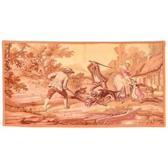 Antique Handmade French Tapestry Pictorial