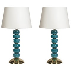 Pair of Murano Glass Lamps Attributed to Veronese