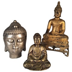 Collection of 3 Metal Buddhas