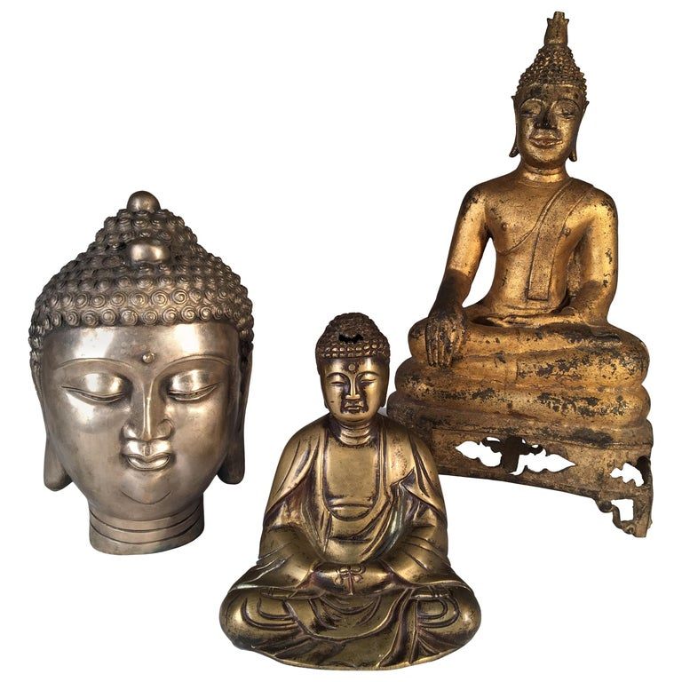 Collection of 3 Metal Buddhas For Sale