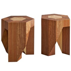 """Customizable"" Yosegi Modern Minimal Style Japanese Pair Stools by Tamen"