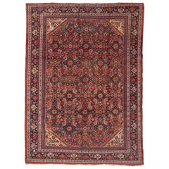 Antique Mahal Rug, Red Field, circa 1920s