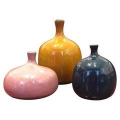 Set of 3 Jacques and Dani Ruelland's Ceramic Vases, circa 1960