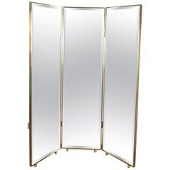 Pescetta Customizable Art Deco Style Mirrored Panels Brass Framed Screen