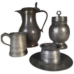 Collection of 4 Antique Pewter Articles