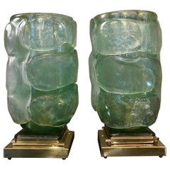 Pair of Acquamarine Color Murano Glass Table Lamps Brass Base, 1980s