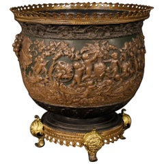 19th Century Chiseled and Painted Bronze, Brass, Scagliola French Vase, 1880