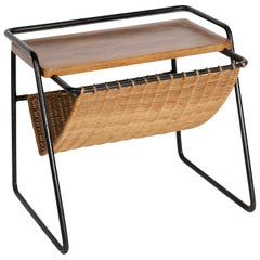 Stitched Leather Side Table by Jacques Adnet