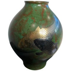 """Japanese Fine """"Double Koi"""" Hand Cast Gold and Silver Bronze Vase, Vibrant Colors"""