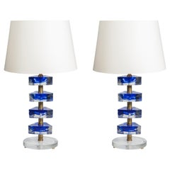 Pair of Murano Glass Lamps in the Style of Veronese