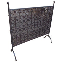 American Wrought Iron Ball Top Freestanding Fire Place Screen, Circa 1820