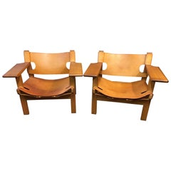 Pair of Original Oak and Saddle Leather 'Spanish Chairs' by Borge Mogensen