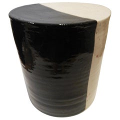 Jun Kaneko Glazed Ceramic Construction, Black and White, 1980s
