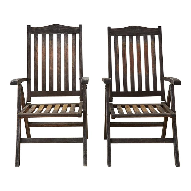Pair of Weathered Vintage Teak Folding Chairs For Sale