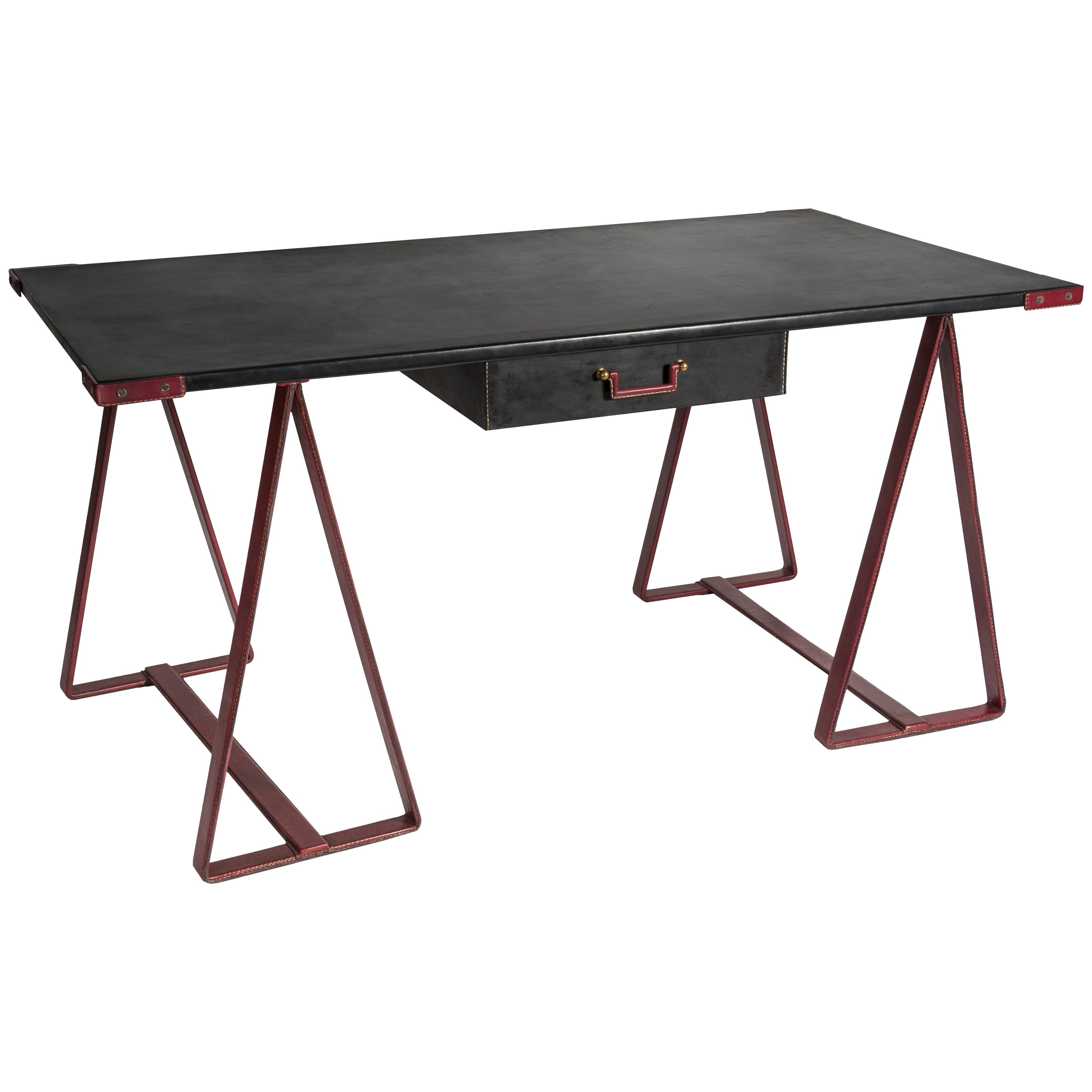 Rare Stitched Leather Desk by Jacques Adnet