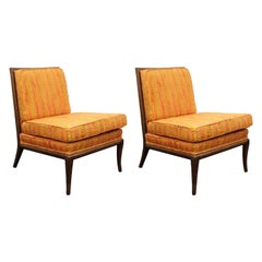 Robsjohn-Gibbings Mid-Century Modern Slipper Chairs in Original Fabric