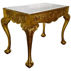 19th Century French Marble-Top Gilt Console or Hall Table