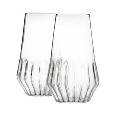 Pair of Czech Clear Contemporary Mixed Flute Champagne Glasses, in Stock