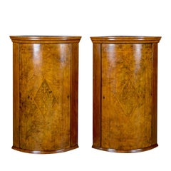 Antique Pair of Georgian Revival Corner Cabinets, English, Burr Walnut