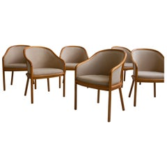 Six Upholstered Ward Bennett Dining Chairs