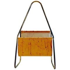 Austrian Leather and Brass Magazine Rack by Carl Auböck, 1950s