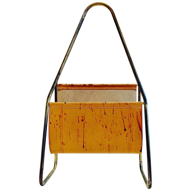 Austrian Leather and Brass Magazine Rack by Carl Auböck, 1950s For Sale