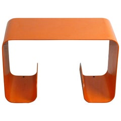 Pair of Orange Lacquered Metal Waterfall Console Tables from the 1970s