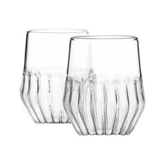 Pair of Czech Clear Contemporary Mixed Small Wine Cocktail Glasses, in Stock